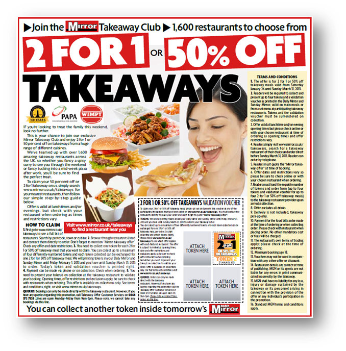 Daily Mirror 2 for 1 Takeaways