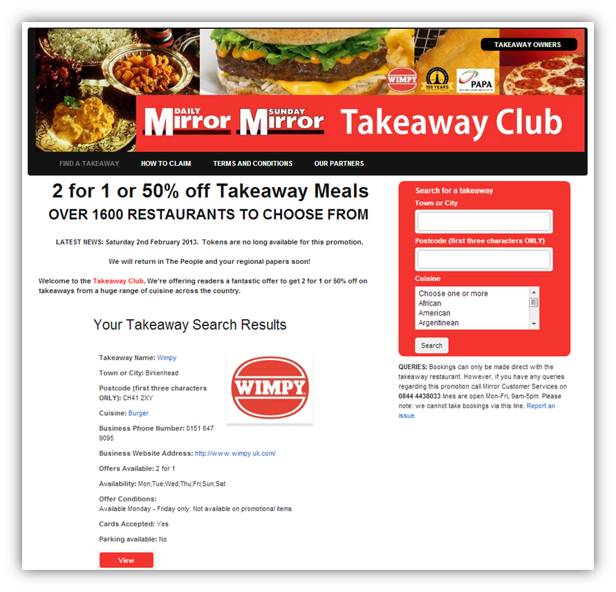 Daily Mirror Takeaway Club
