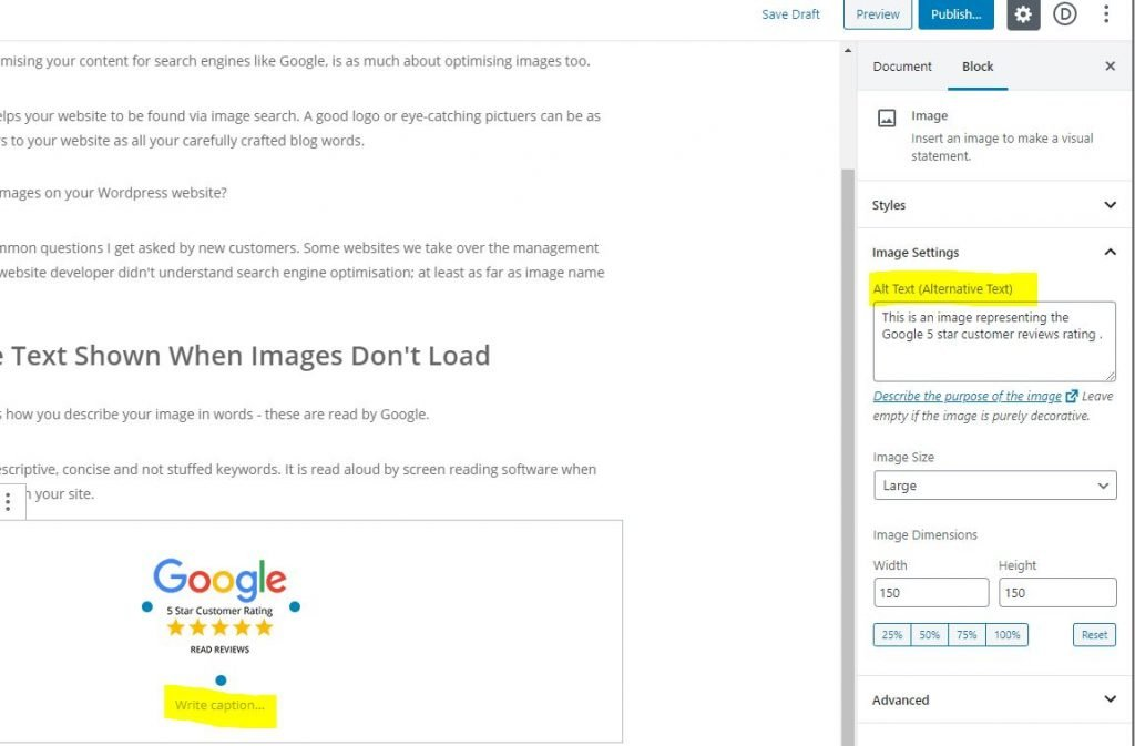 how to label an image alt-text in WordPress with the Gutenberg editor